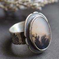 Dusk flowers, flower landscape ring in sterling silver and dendritic agate