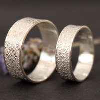 Esmee engagement rings, medieval etched ring in sterling silver