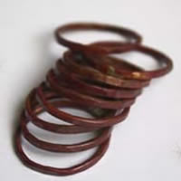 Fire copper, Raw hammered copper stacking rings