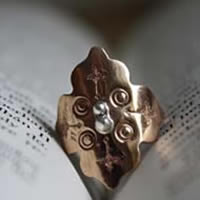 Fire rose, medieval ring in copper and sterling silver