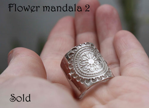 Flower mandala 2, Buddhist-inspired ring in sterling silver