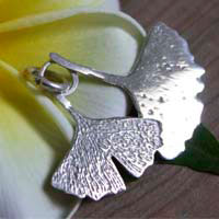 Ginkgo, leaf of maidenhair tree pendant in sterling silver