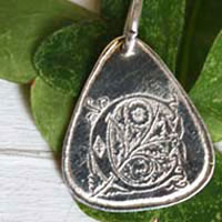 Graphium, medieval initial illumination drop pendant in sterling silver