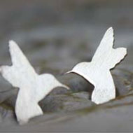 Humming bird, bird stud earrings in sterling silver
