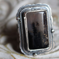 It snows in our dreams, rectangle ring in sterling silver and dendritic agate
