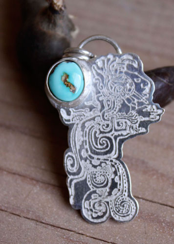 Kukulkan, the Maya feathered serpent pendant in sterling silver and turquoise