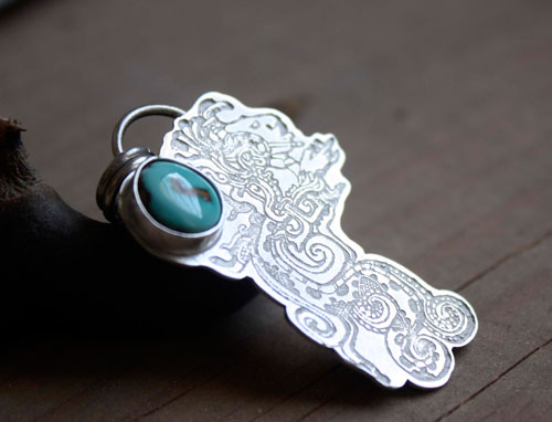 Kukulkan, the Mayan feathered serpent pendant in sterling silver and turquoise