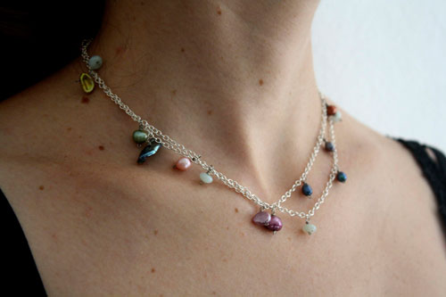 Lagoon pearls, sterling silver necklace, anklet, bracelet