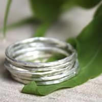 Light and shadow, Hammered sterling silver stacking ring