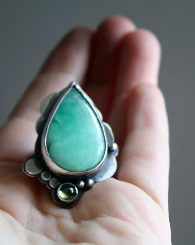 Lunar forest, moon and stars ring in sterling silver, chrysoprase and peridot