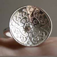 Lyric, medieval etched ring in sterling silver