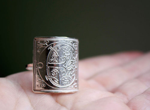 Medieval monogram, middle-ages illumination ring in sterling silver