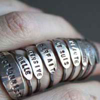 Mood, feelings message ring in sterling silver
