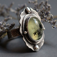 Moss poem, botanical cocktail ring in sterling silver and prehnite