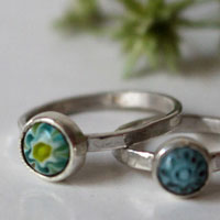 Mother and daughter, millefiori glass cabochon ring set in sterling silver