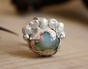 custom sterling silver ring with opal
