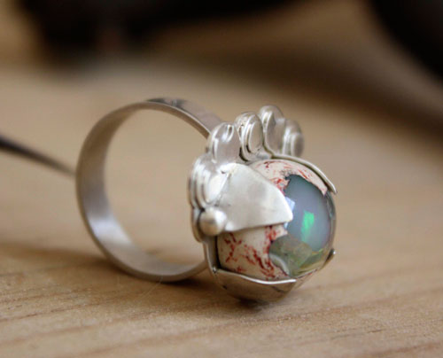 Nebula, astronomy ring in sterling silver and Mexican cantera opal