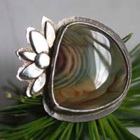 Nenufar, lotus flower ring in sterling silver and royal imperial japser