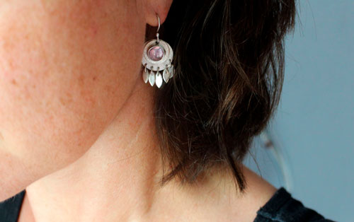 Nova corundum, astronomical earrings in sterling silver and pink corundum