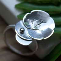 Nympheale, lily pad and lotus ring in sterling silver