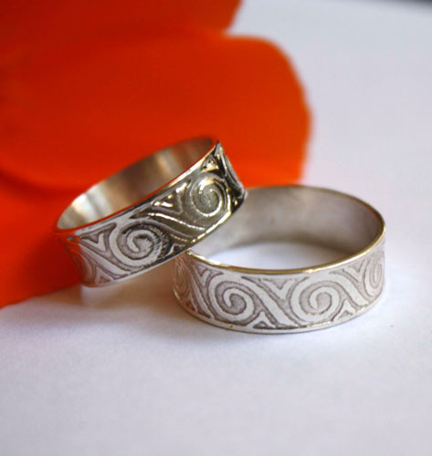 Oceanid, wedding rings set with Greek wave meander in sterling silver