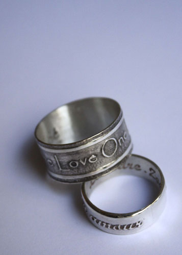One life, personalized statements rings in sterling silver with etchings