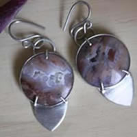 Perseverance, youngite sterling silver earrings