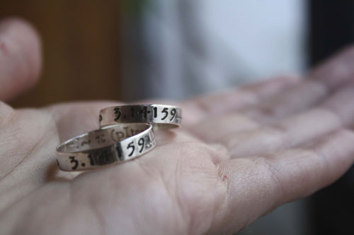 Pi rings, infinity symbols personalized rings in sterling silver with custom engraving