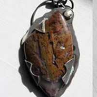 Rising tide, red algae pendant in sterling silver and Maury Mountain agate