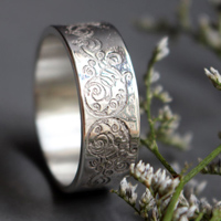 Spiral, iron wrought swirl ring in sterling silver