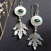 Spirit of the forest, leaf earrings in sterling silver and green tourmaline