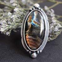 Stormy sky, cloudy sky ring in sterling silver and labradorite