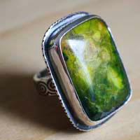 The enchanted pond, magical nature ring in sterling silver and jasper