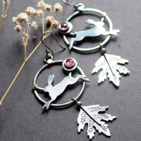The hare of the dawn, rabbit earrings in sterling silver and pink tourmaline