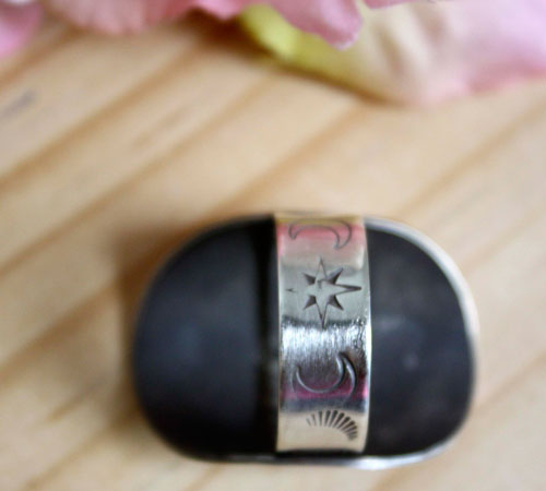 The little prince's planet, Saint Exupéry ring in etched sterling silver