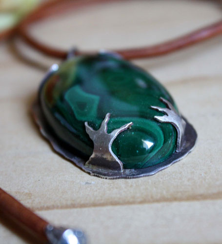The realm of the crow, bird pendant in sterling silver and malachite