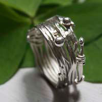 The roots of hazard, weaving wire of life ring in sterling silver