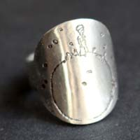 Tiny planet, the little prince sterling silver ring