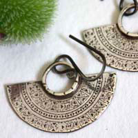 Tribal, Aztec crescent moon earrings in sterling silver
