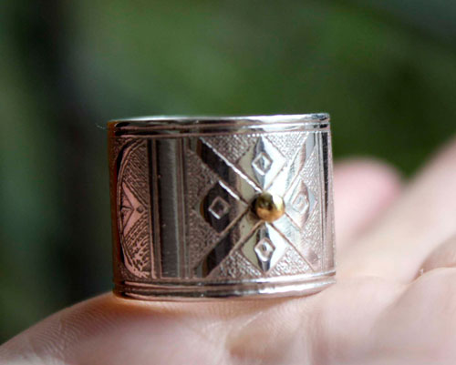 Tuareg, African ethnic tribal ring in sterling silver