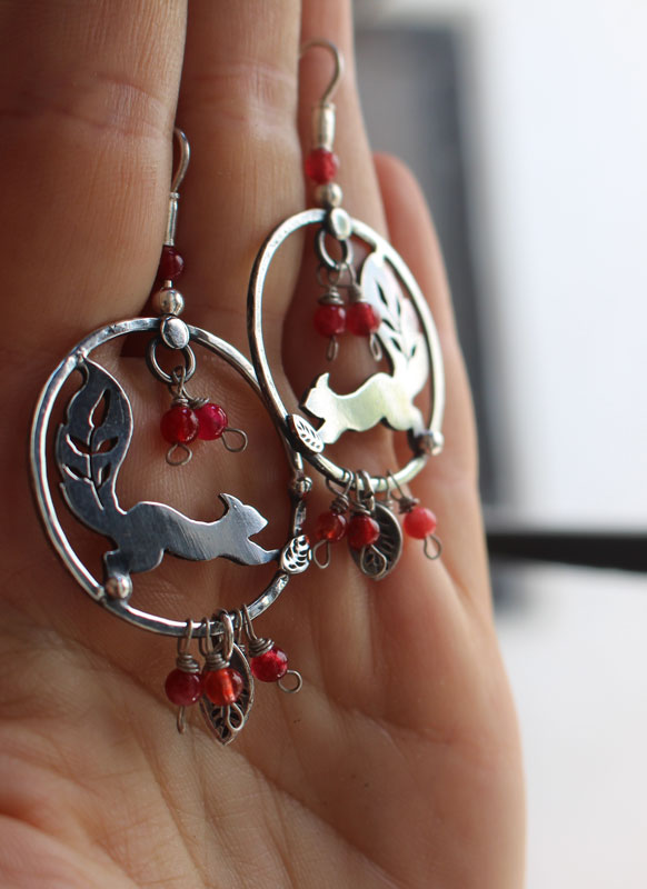 Under the berries, berries and squirrel earrings in sterling silver and coral