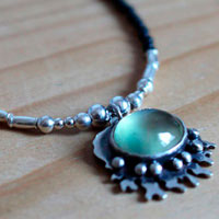 Under the ocean, coral necklace in sterling silver, prehnite and agate