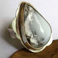 Under the snow, resting nature ring in sterling silver and dendritic agate