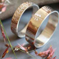 Vegetal harmony, personalized wedding rings in sterling silver