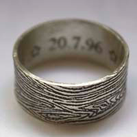 Wedding wood ring, woodgrain etched ring with names and date in sterling silver