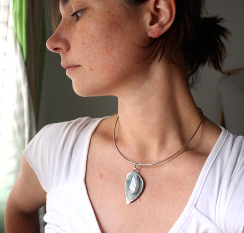 Wild, landscape pendant in sterling silver and royal imperial jasper