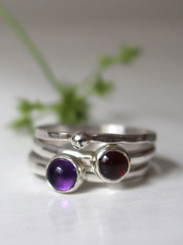 Wind-flower bouquet, sterling silver stacking rings with garnet and amethyst