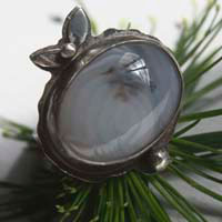 Winter berries, fruit ring in sterling silver and dendritic agate