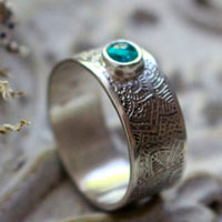 With the flow, mandala ring in sterling silver and blue apatite
