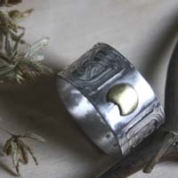Stonehenge, Celtic knots ring in sterling silver and brass